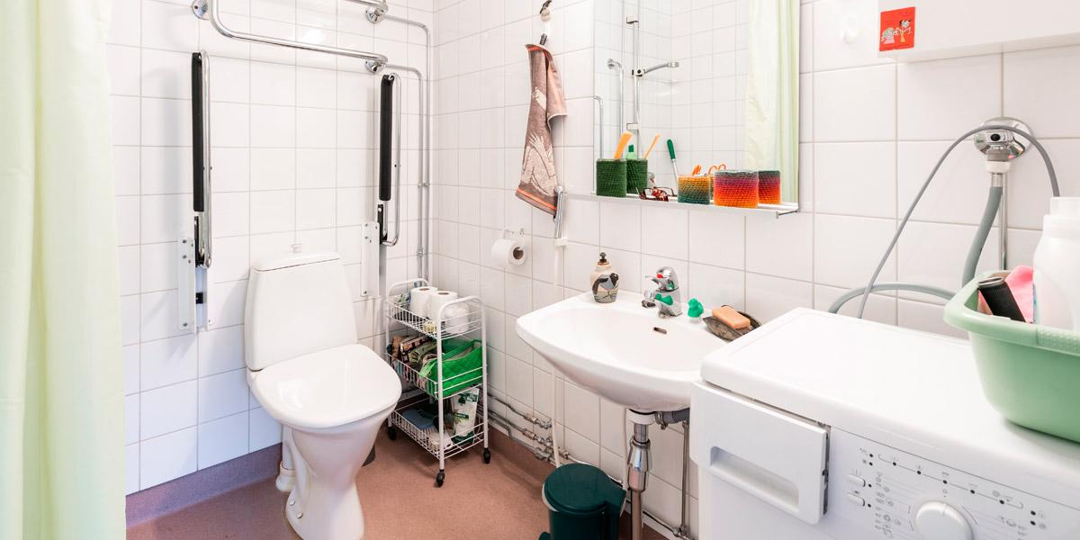 Hirsimetsäntien senioritalon asunnon vessa.